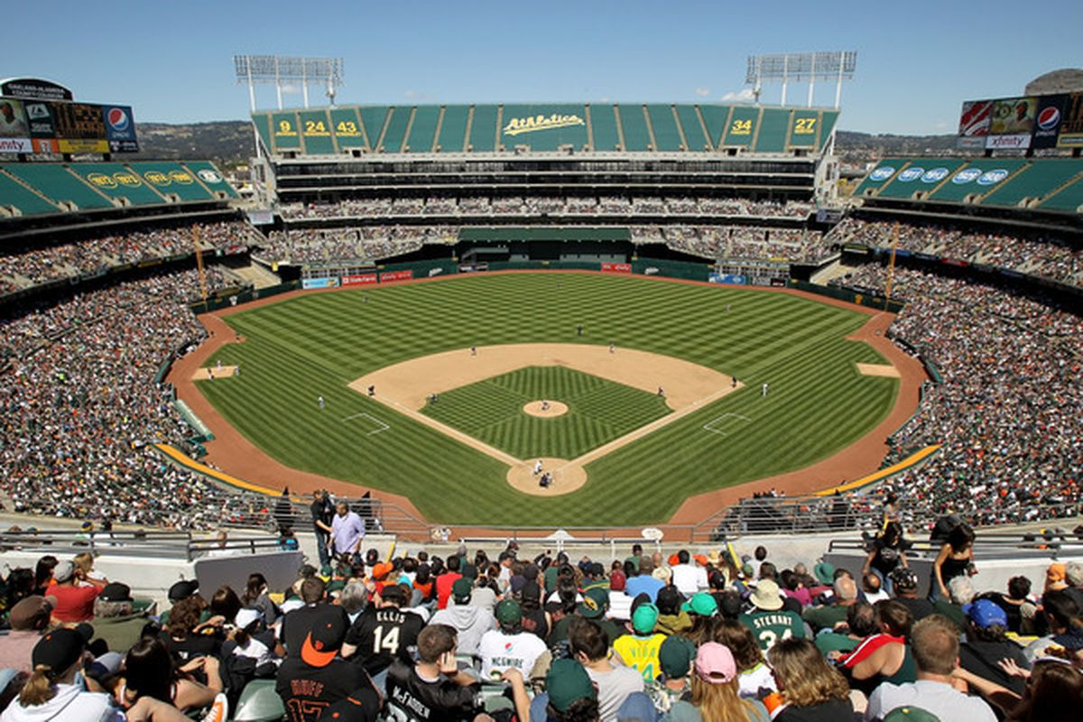 OAKLAND, CA - MAY 23:  A general view during the San Francisco Giants game against the Oakland Athletics at the Oakland-Alameda County Coliseum on May 23, 2010 in Oakland, California.  (Photo by Ezra Shaw/Getty Images)
