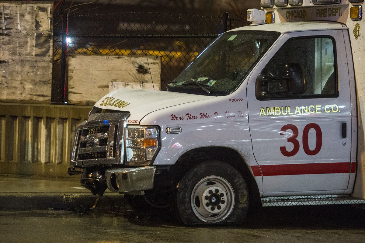 The front of a stolen Chicago Fire Department ambulance was damaged after a man stole then crashed it outside St. Bernard Hospital.   Tyler LaRiviere/Sun-Times