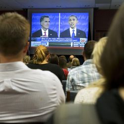 A couple hundred University of Utah Students turn out to watch the debate Wednesday, Oct. 3, 2012 between President Barack Obama and Republican candidate Mitt Romney.