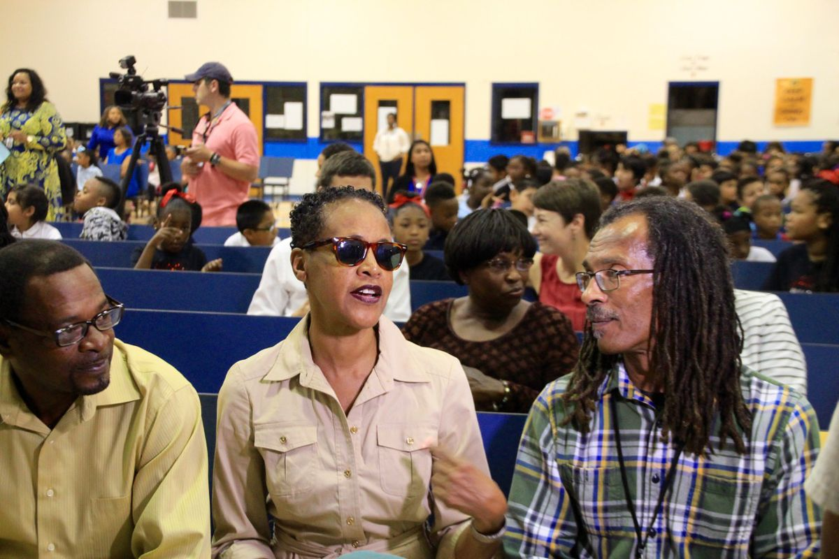 """From left: Harry Williams, Dwania Kyles and Michael Willis, who now goes by Menelik Fombi, were honored at Bruce Elementary for being among the """"Memphis 13"""" who helped integrate the city's public schools."""