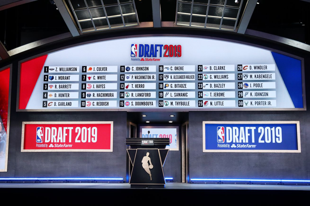 A general view of the stage and draft board at the end of the first round during the 2019 NBA Draft on June 20, 2019 at Barclays Center in Brooklyn, New York.