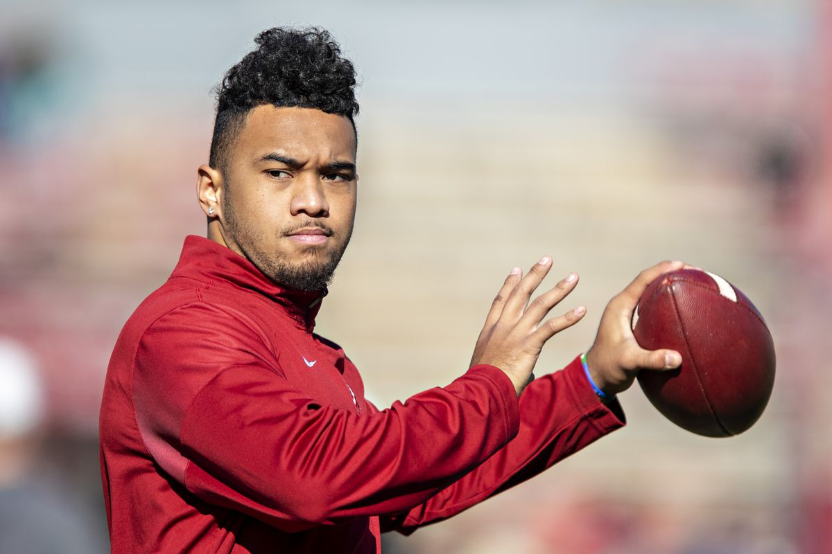 Tua Tagovailoa of the Alabama Crimson Tide warms up before a game against the Mississippi State Bulldogs at Davis Wade Stadium on November 16, 2019 in Starkville, Mississippi.