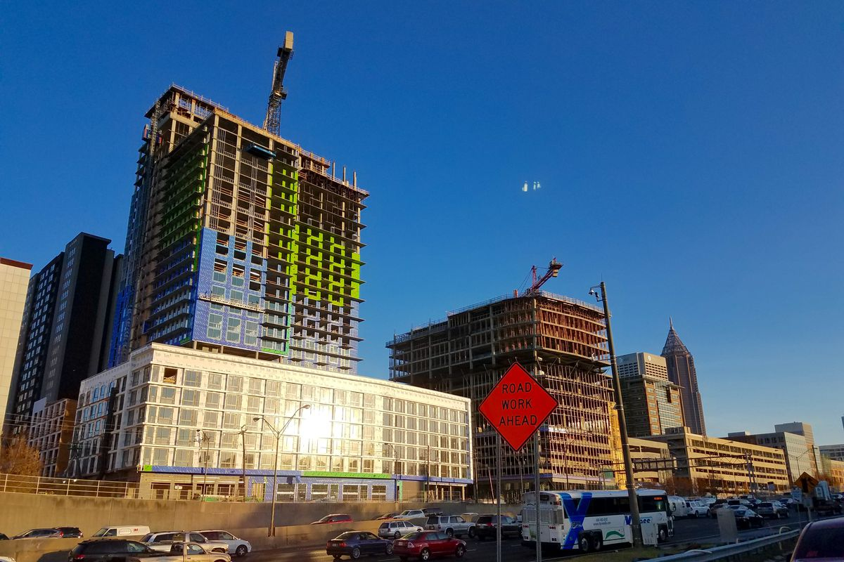 Recent construction in Midtown Atlanta as high-rises go up.
