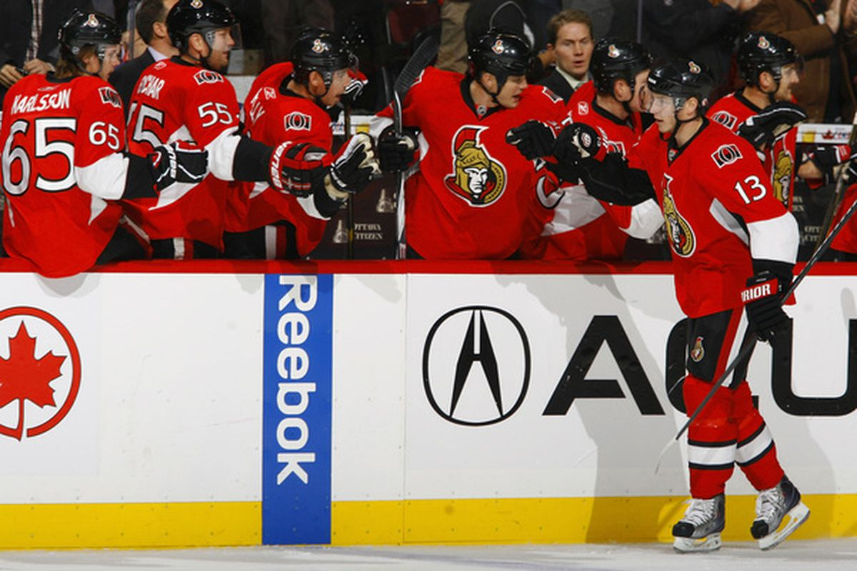 A rarer sight than it should be: The Ottawa Senators celebrating a goal scored.