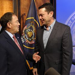Gov. Gary Herbert, front left, talks with Rep. Jason Chaffetz, R-Utah, following Herbert's monthly news conference at KUED in Salt Lake City on Thursday, Dec. 15, 2016. At back left, Rep. Rob Bishop, R-Utah, talks with Bob Bernick, a contributing editor with UtahPolicy.com.