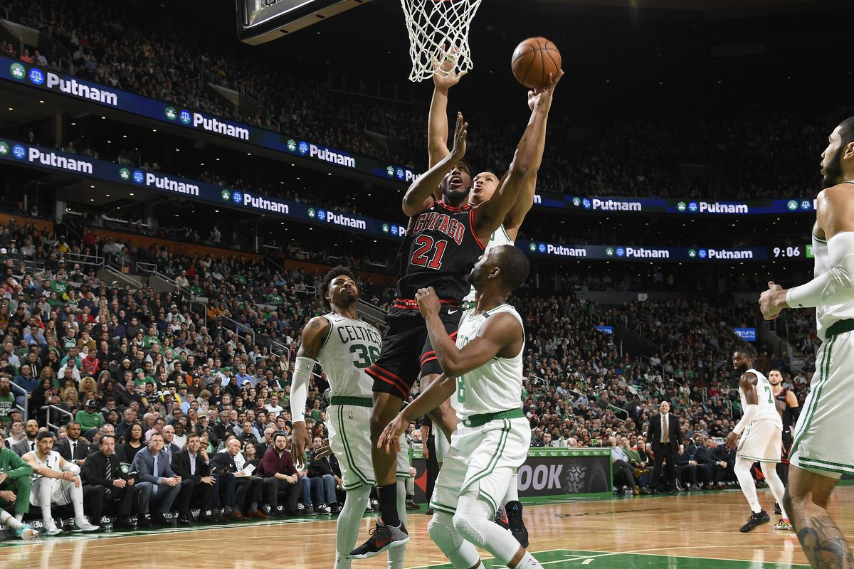 Thaddeus Young of the Chicago Bulls drives to the basket during the game against the Boston Celtics on January 13, 2020 at the TD Garden in Boston, Massachusetts.