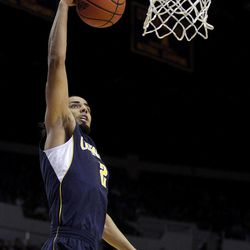 California's Jorge Gutierrez goes up for a basket during the first half of an NCAA college basketball game against UCLA in Los Angeles, Saturday, Feb. 11, 2012.