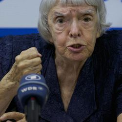 """Russian human rights activist Lyudmila Alexeyeva speaks at a news conference in Moscow, Thursday, Sept. 27, 2012. Russian non-government organizations say they will ignore a new Kremlin law obliging those of them that receive funding from abroad to register as """"foreign agents."""" Lyudmila Alexeyeva, a Soviet-era dissident who heads the Moscow Helsinki Group said Thursday that Russian rights activists have """"survived the Soviet power and .. will survive this."""""""