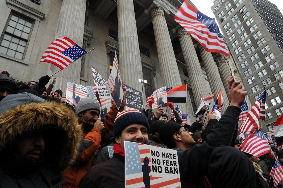 Yemeni bodega owners and workers rallied against President Donald Trump's order limiting entry for refugees and immigrants from seven predominantly Muslim countries, Feb. 2, 2017.