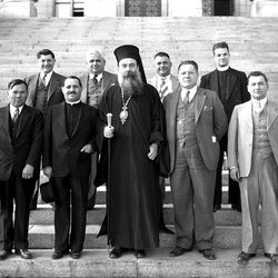 Visitors to Utah came often, here is a photo of a religious leader of the Greek Orthodox Church with members of the local community on the steps of the State Capitol in May of 1936.