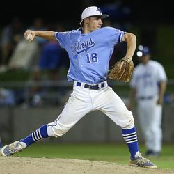 Pleasant Grove's Logan Carlson delivers a pitch as Bingham and Pleasant Grove play Wednesday, May 21, 2014 in a 5A one-loss bracket game at Kearns.