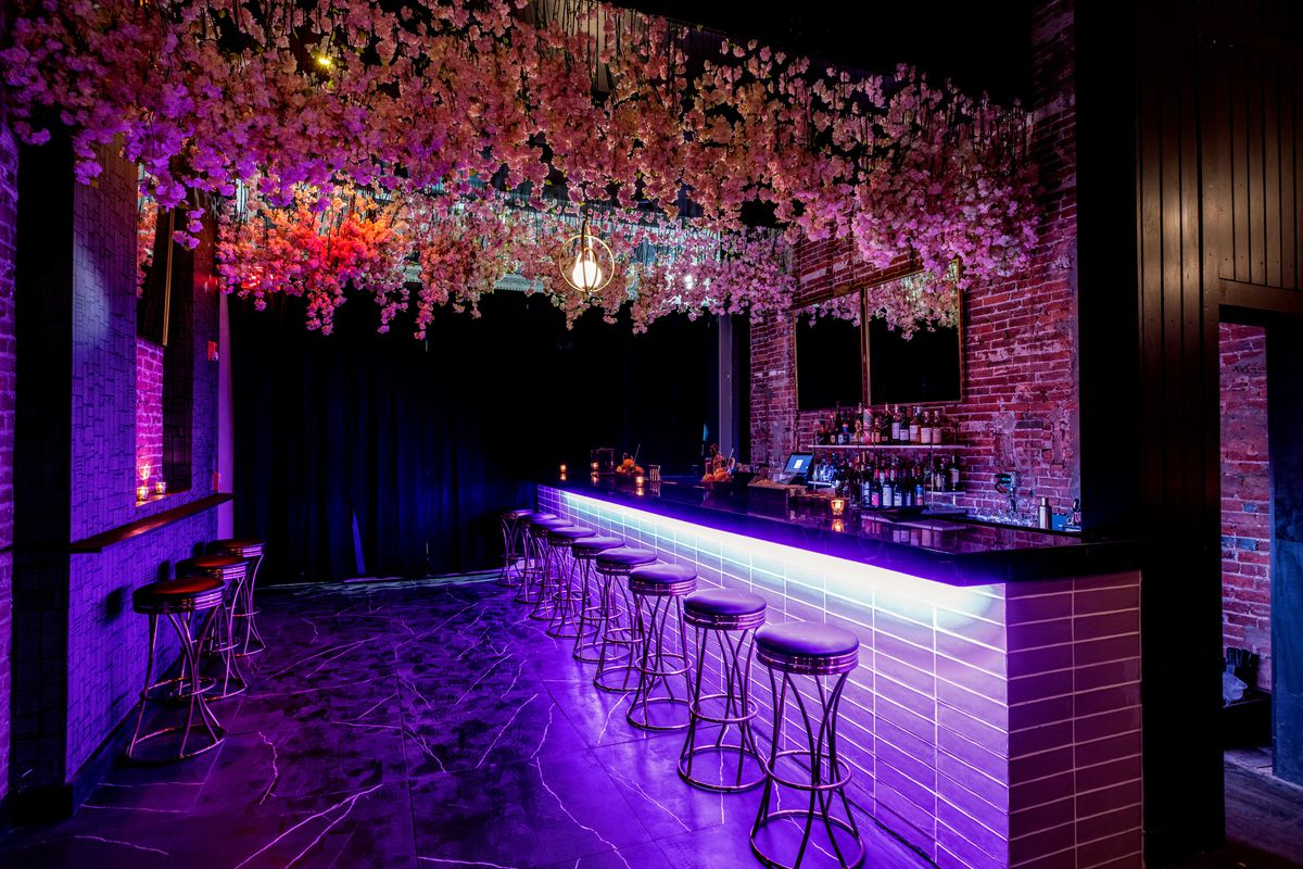 dark, purple-lit bar with flower curtain hanging above