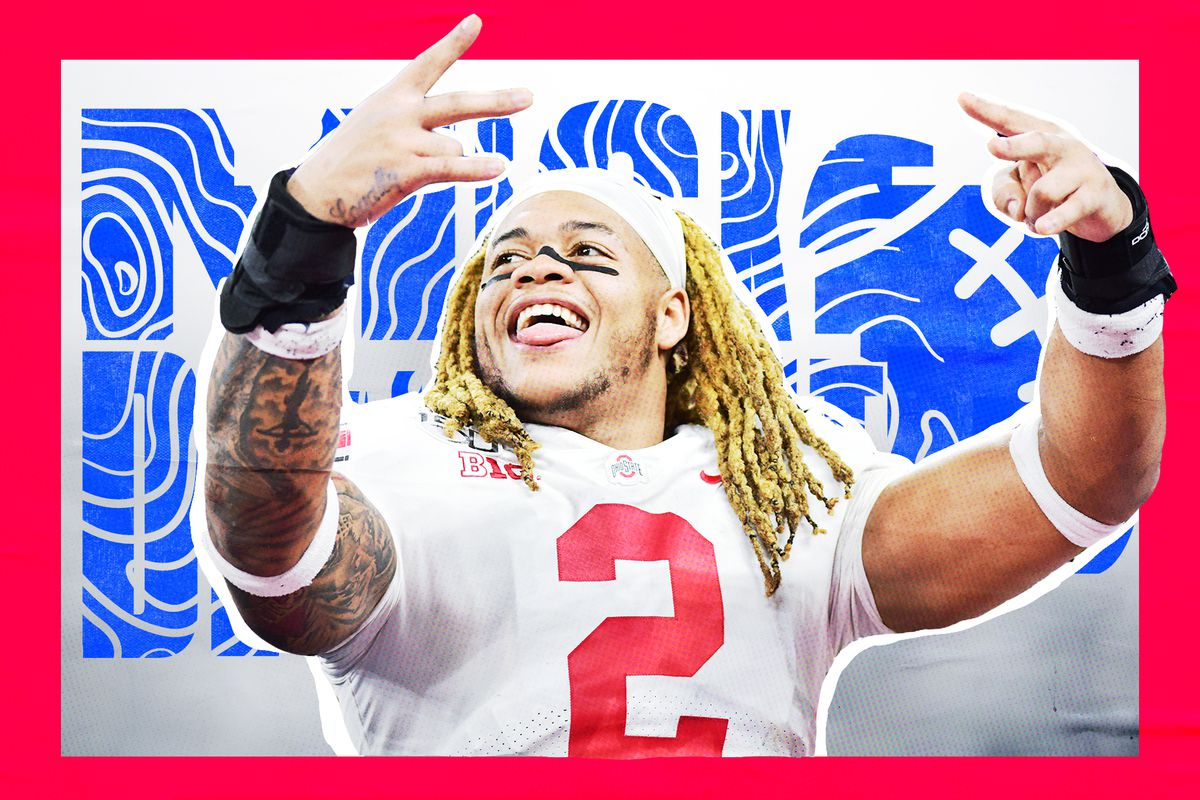 """Artwork of NFL Draft prospect Chase Young holding up both hands and wearing his Ohio State uniform, superimposed on a white background with a red border and """"mock draft"""" written in blue squiggly lines"""