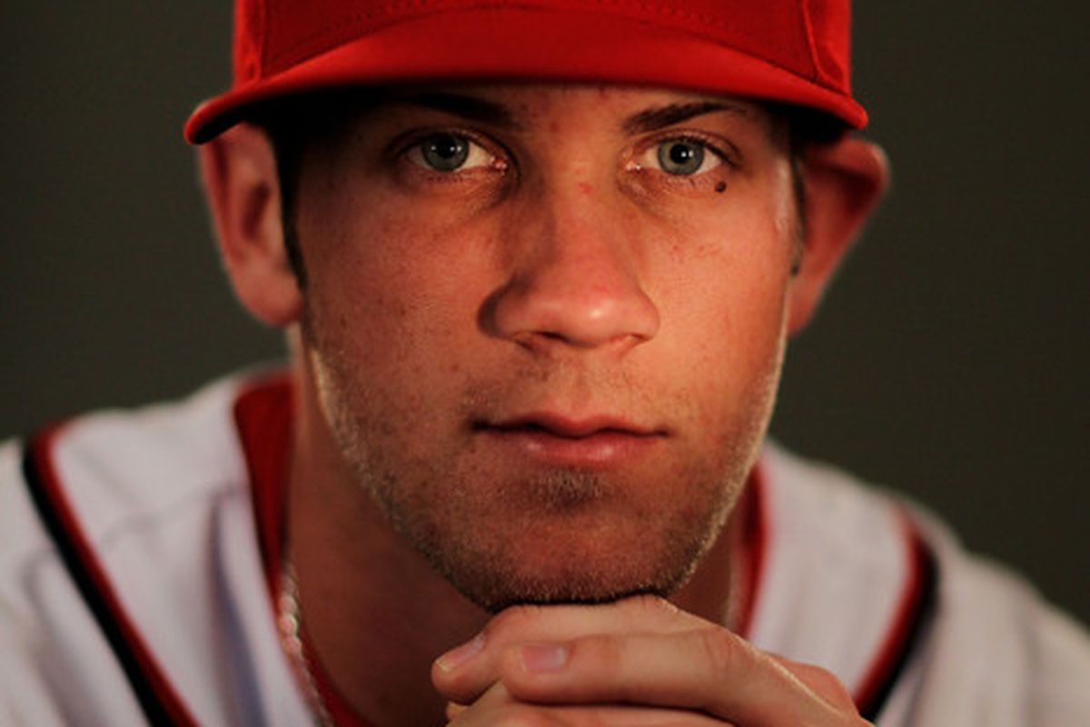 VIERA FL - FEBRUARY 25:  Bryce Harper #34 of the Washington Nationals poses for a portrait during Spring Training Photo Day at Space Coast Stadium on February 25 2011 in Viera Florida.  (Photo by Al Bello/Getty Images)