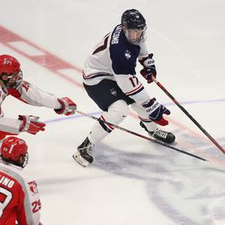 The RPI Engineers take on the UConn Huskies in a men's college hockey game at the XL Center in Hartford, CT on October 12, 2019.
