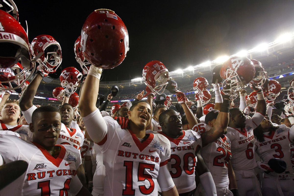 Dec 30, 2011; Bronx, NY, USA; Rutgers Scarlet Knights sing the alma mater after defeating Iowa State in the Pinstripe Bowl at Yankee Stadium. Mandatory Credit: Chris Faytok/The Star-Ledger via US PRESSWIRE