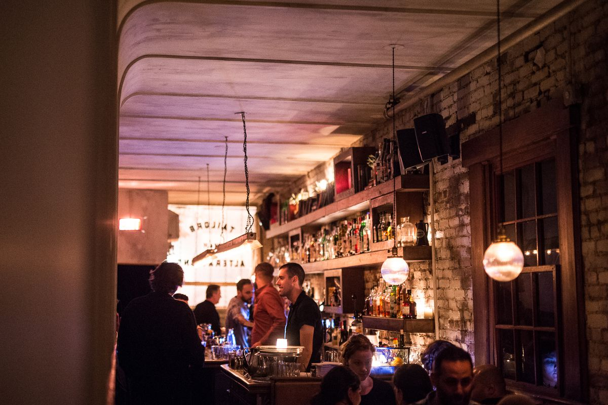 """[Attaboy, in full swing. <a href=""""http://ny.eater.com/2014/10/22/7039679/low-lights-and-beautiful-cocktails-on-a-weekday-night-at-attaboy-on"""">Check out the full Eater scenes here</a>]"""