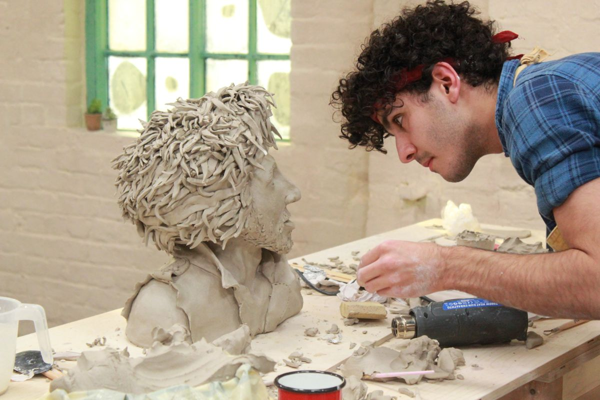 Alon from The Great Pottery Throw Down sculpts a self-portrait