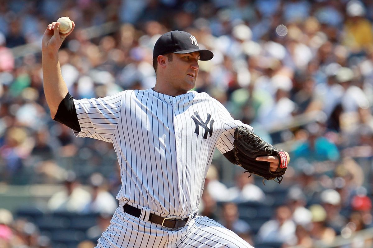 Phil Hughes pitches Monday night for the New York Yankees. Photo by Jim McIsaac/Getty Images)