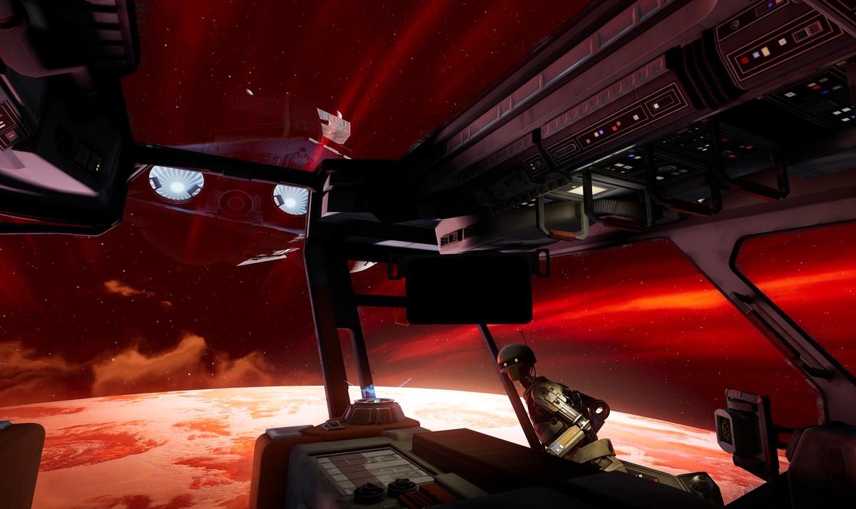 A Star Destroy flies over a smuggling ship
