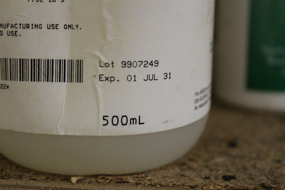 Buffer solution is a staple in many science experiments. This bottle from Shivers' closet expired about 20 years ago.