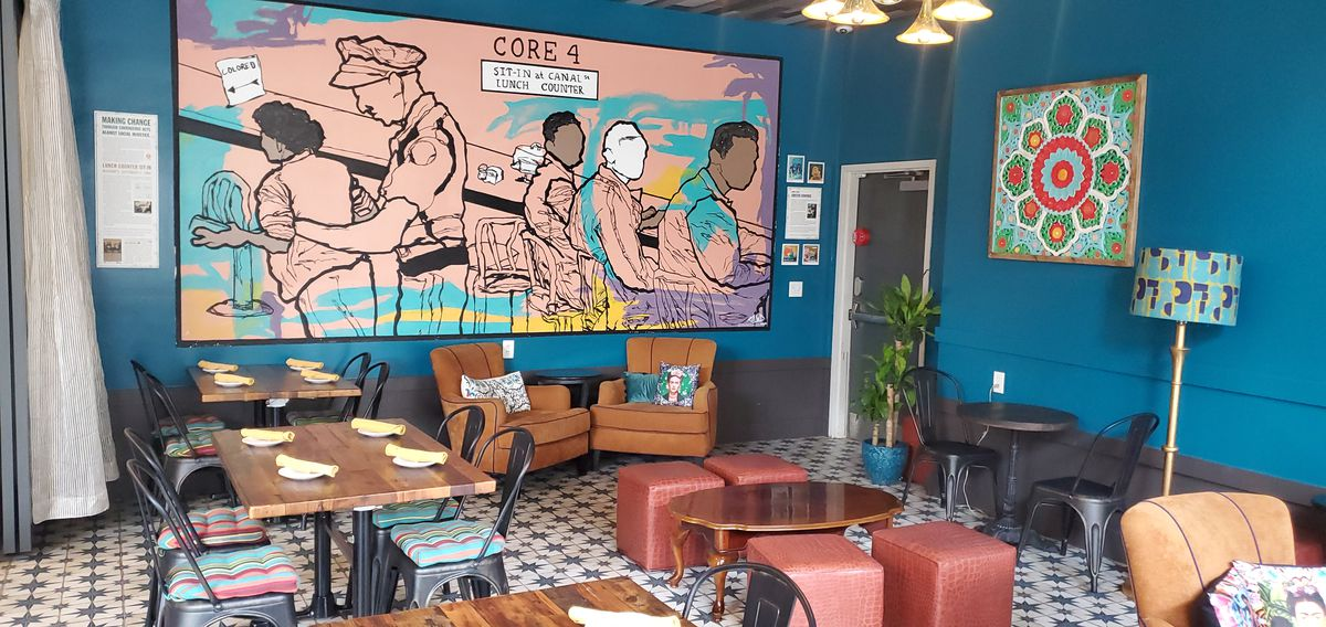 Bésame's dining room, which includes a mural depicting the 1960 arrest of Oretha Castle Haley at a Canal Street lunch counter