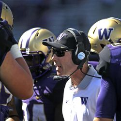 Washington head coach Chris Petersen in action against Sacramento State in an NCAA college football game Saturday, Sept. 12, 2015, in Seattle. Washington won 49-0. (AP Photo/Elaine Thompson)