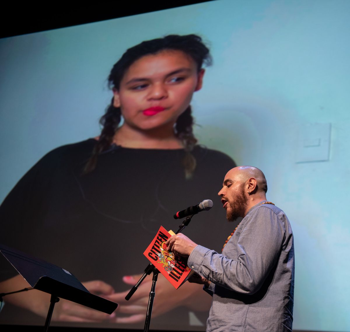 Mexican-American poet Jose Olivares and Mexico-City based poet Jimena Gonzales collaborate via Skype at the 2018 Lit & Luz Festival in Chicago.