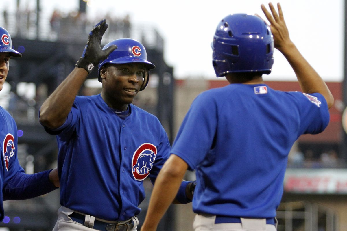 Alfonso Soriano of the Chicago Cubs celebrates after hitting a two-run home run against the Pittsburgh Pirates at PNC Park in Pittsburgh, Pennsylvania.  (Photo by Justin K. Aller/Getty Images)
