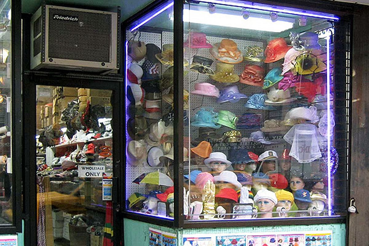 """An old-fashioned hat store on 29th Street via <a href=""""http://www.flickr.com/photos/kstrahmx/5491115329/in/pool-312691@N20/"""">Kurt Strahm</a>/Racked Flickr Pool"""