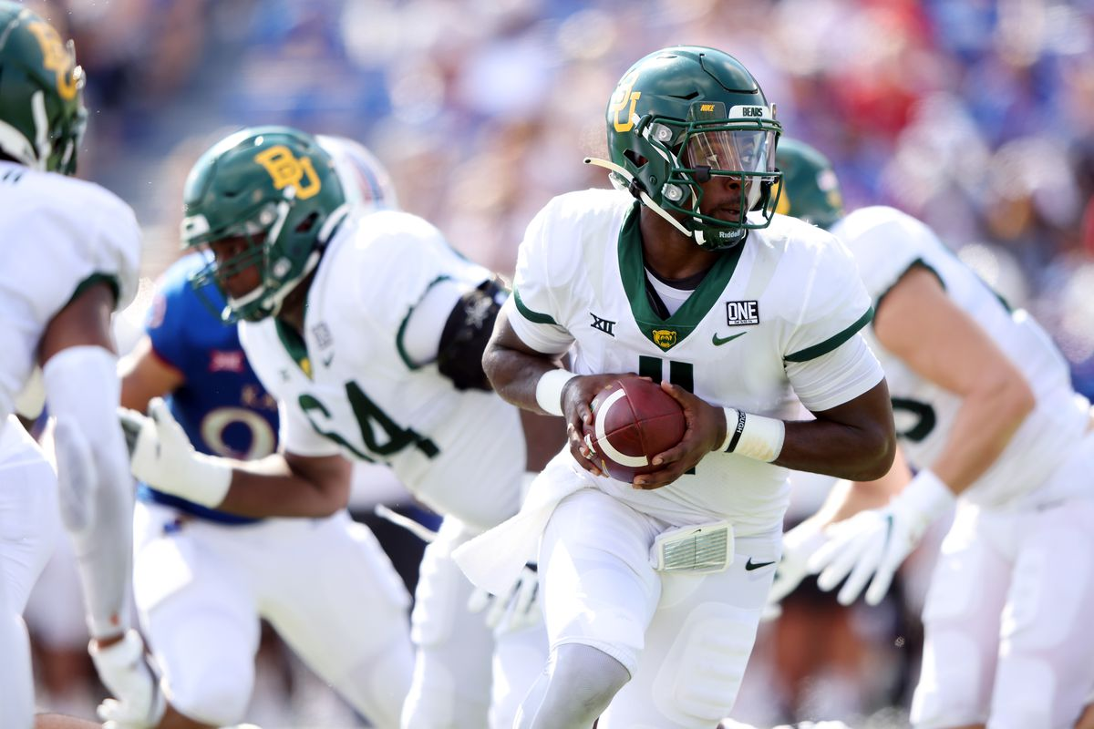 Quarterback Gerry Bohanon of the Baylor Bears in action during the 1st half of the game against the Kansas Jayhawks at David Booth Kansas Memorial Stadium on September 18, 2021 in Lawrence, Kansas.
