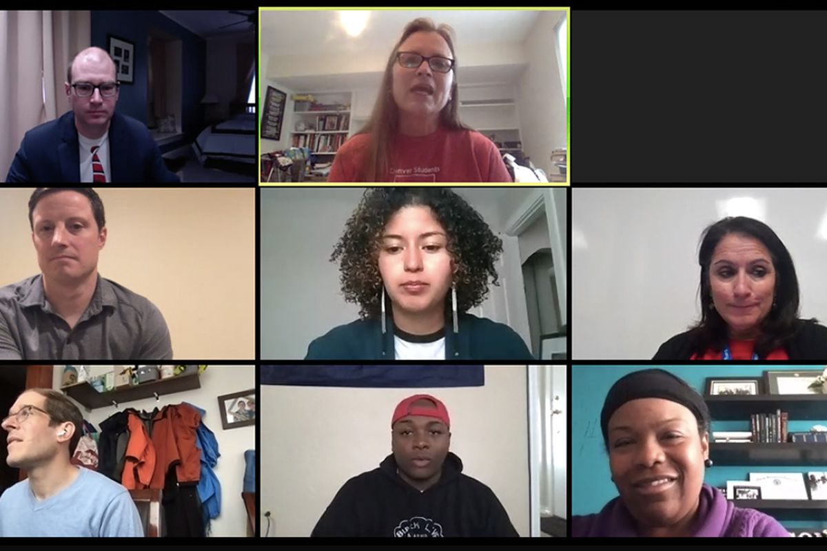 A virtual meeting of the Denver school board and staff during the COVID-19 pandemic.