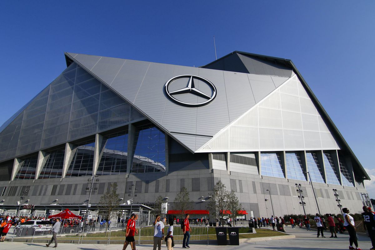 Report the falcons won t open the mercedes benz stadium for Mercedes benz stadium opening