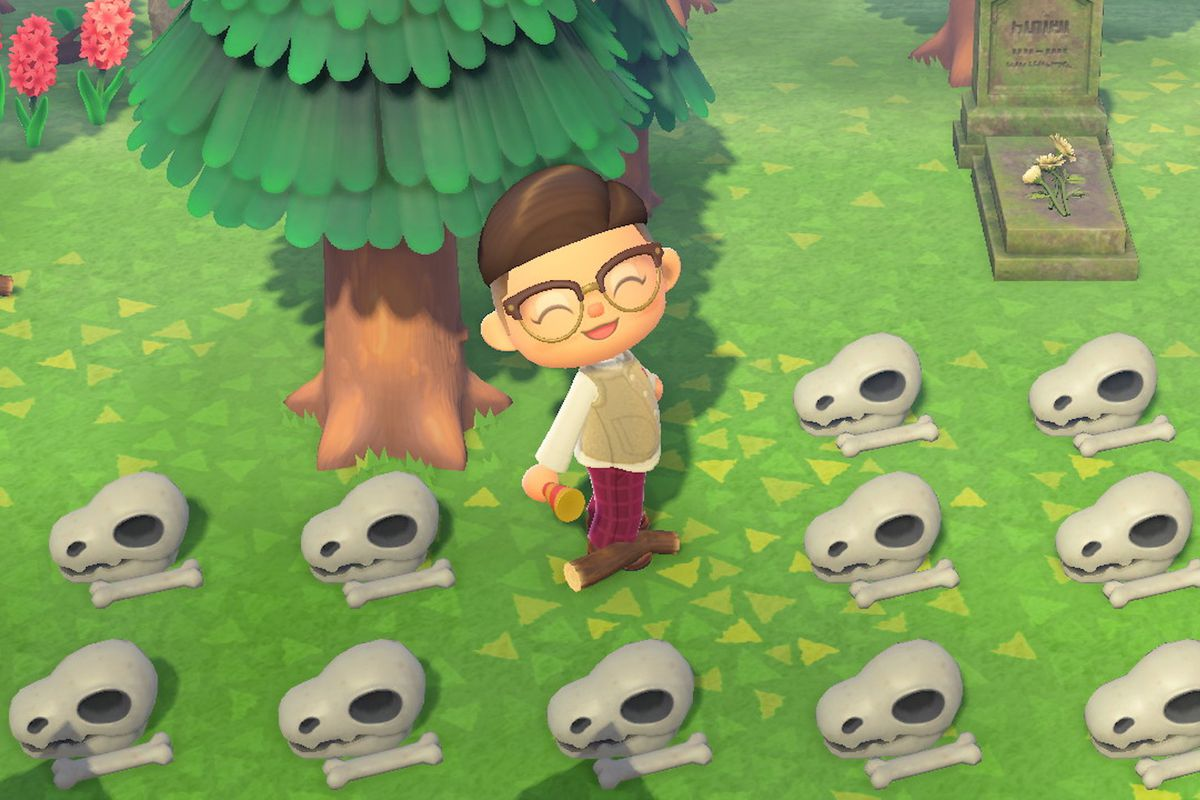 A player in Animal Crossing stands by a number of fossil skulls.