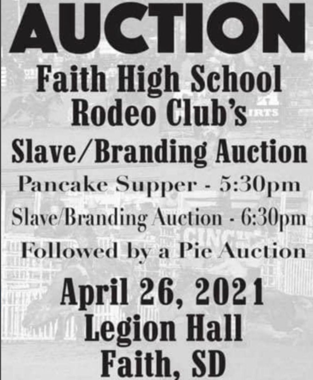 Faith High School slave auction flyer
