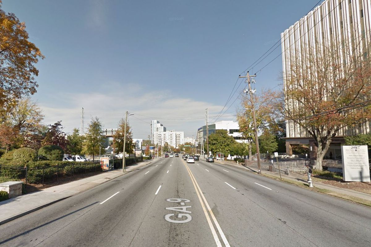 A very not-pedestian friendly stretch of Peachtree Road in Buckhead.