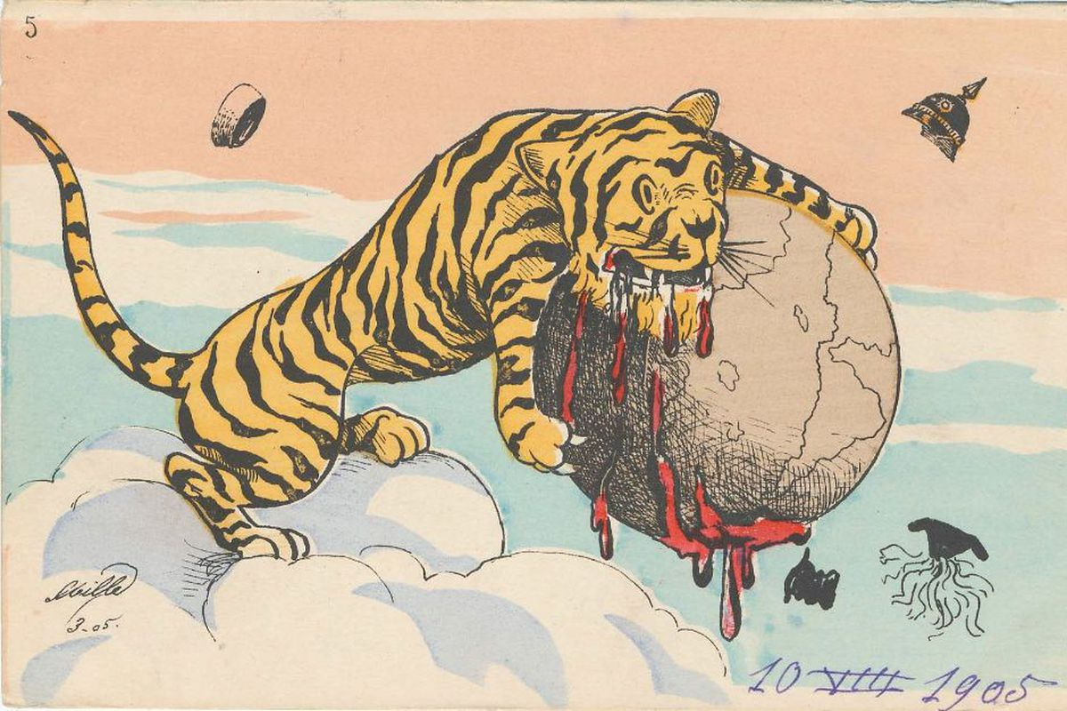 A postcard commemorates the end of the Russo-Japanese War. The yellow tiger represents Japan as it seeks to conquer the world.
