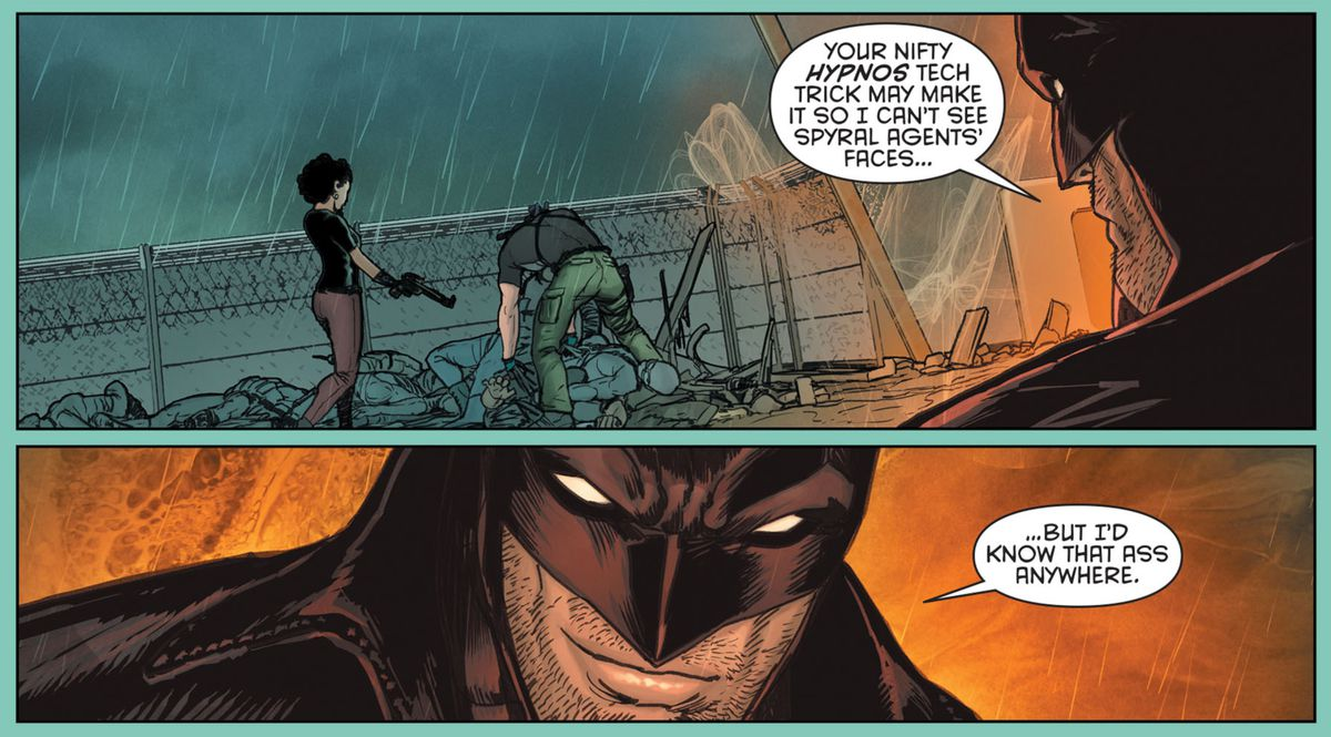 Midnighter recognizes a disguised Dick Grayson by the shape of his butt alone, in Grayson #6, DC Comics (2015).