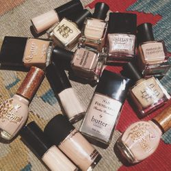 I love nail polish. Nude is a great color to have on hand when I've been working on jewelry all day and have a meeting to run to. Loving these nudes from <b>Butter London, Armani, MAC, Deborah Lippmann, RGB, and Sheswai Laquer</b>.