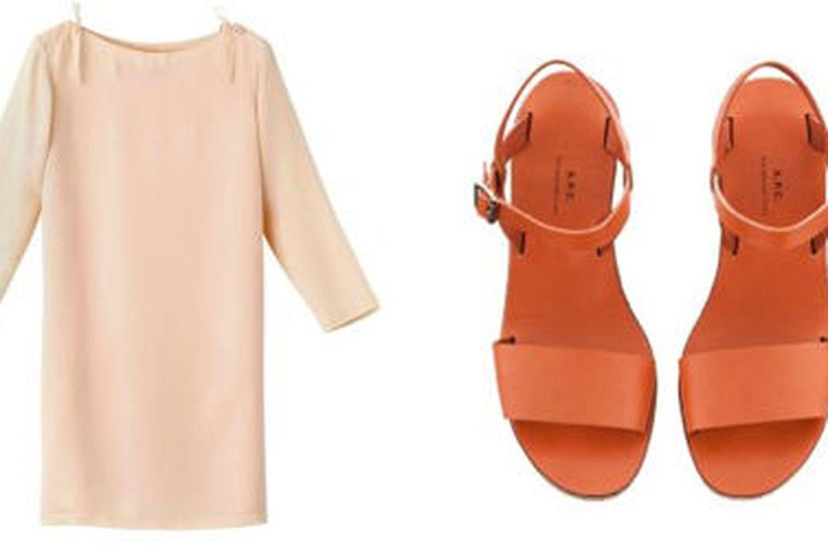 """<a href=""""http://uscheckout.apc.fr/browse.cfm/4,2186.html?nav=women"""">Silk dress with shoulder detail</a>, $248.50 (was $355), and <a href=""""http://uscheckout.apc.fr/browse.cfm/4,2215.html?nav=women"""">minimalist wedge sandals</a>, $238 (were $340), via"""