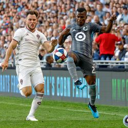 August 14, 2019 - Saint Paul, Minnesota, United States - Minnesota United forward Darwin Quintero (25) leaps towards the ball during the match against the Colorado Rapids at Allianz Field.