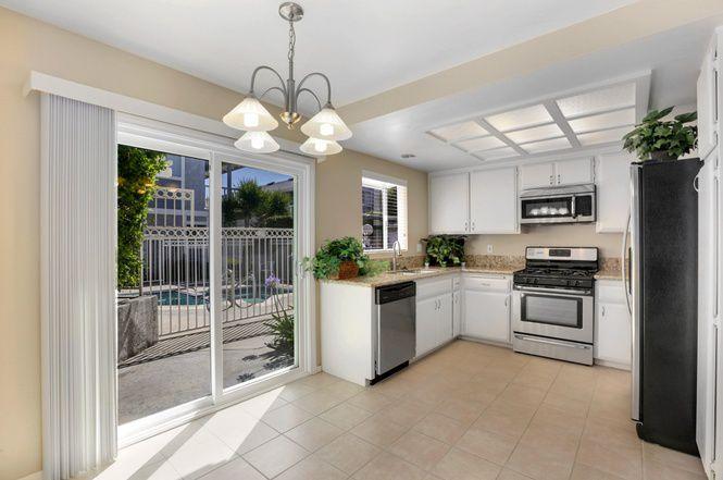 Kitchen with sliding door