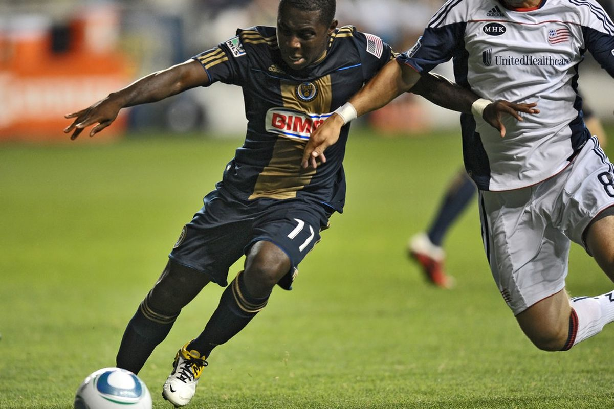 CHESTER, PA- SEPTEMBER 07: Freddy Adu #11 of the Philadelphia Union fights for the ball during the game against the New England Revolution at PPL Park on September 7, 2011 in Chester, Pennsylvania. (Photo by Drew Hallowell/Getty Images)