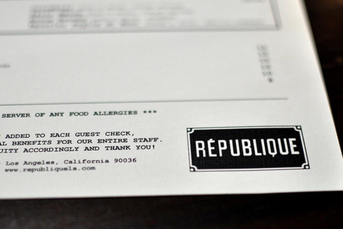 Menu at Republique, Mid-City.