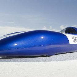 """BYU's """"Electric Blue"""" set a land-speed record last year and was recently featured on the cover of Popular Science."""