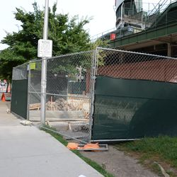 5:35 p.m. Alley entrance being replaced on Waveland, between Sheffield and Kenmore -