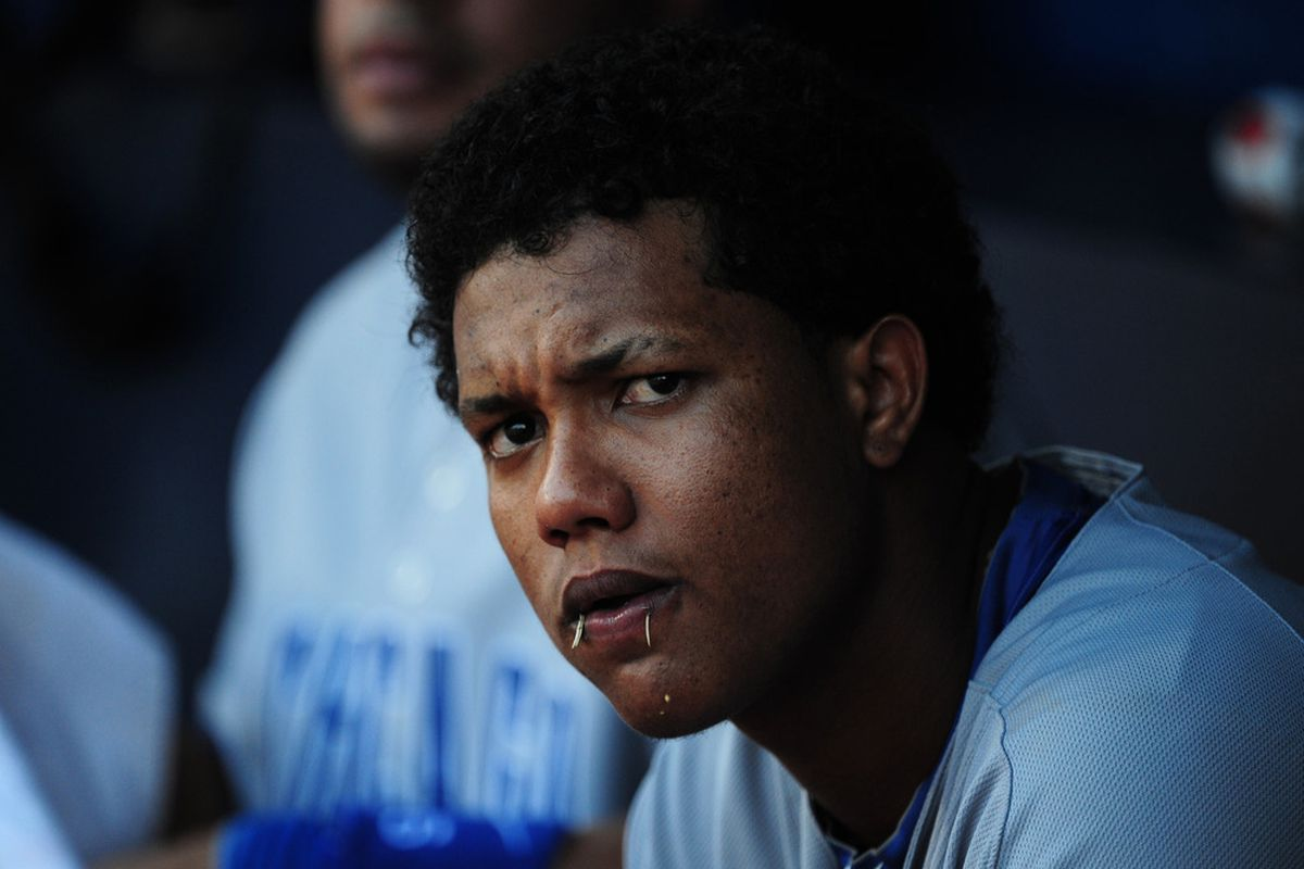 Starlin Castro of the Chicago Cubs watches the action against the Atlanta Braves at Turner Field in Atlanta, Georgia. (Photo by Scott Cunningham/Getty Images)