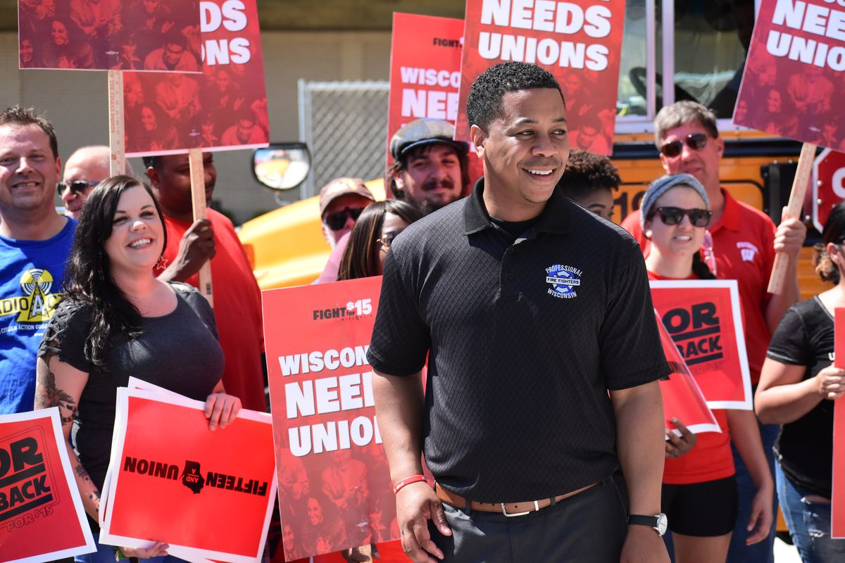 Mahlon Mitchell, a Madison, WI based firefighter and state union president, is one of eight Democrats competing in Wisconsin's Aug. 14 gubernatorial primary.