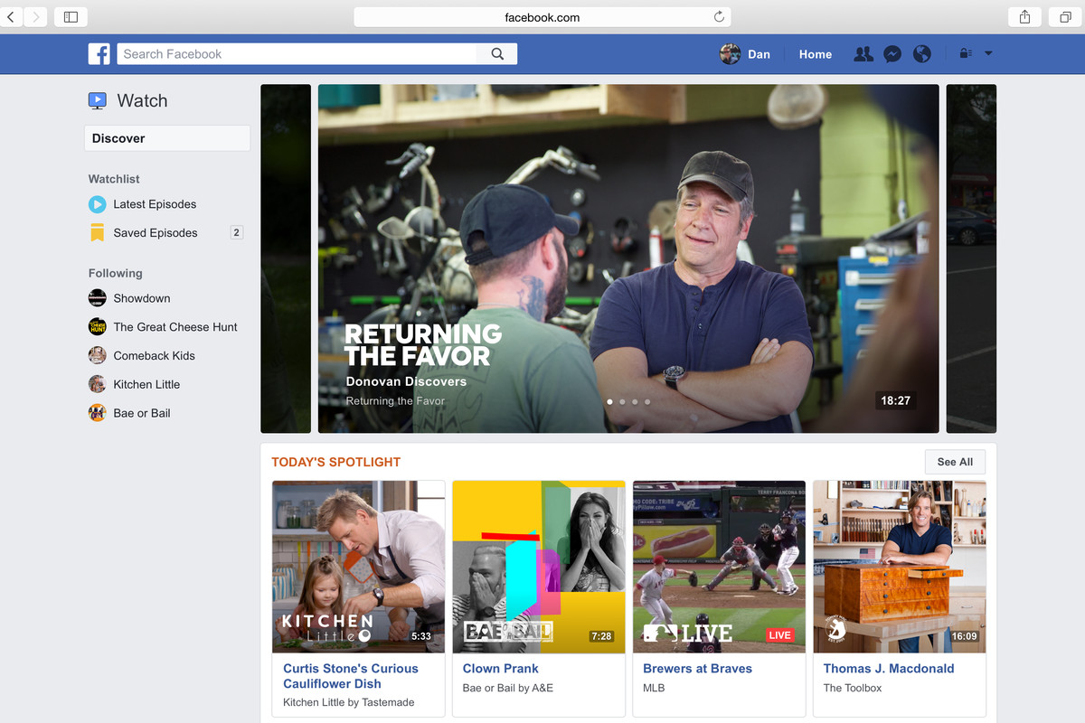Facebook launches Watch tab for TV shows and live sports
