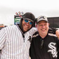 Aaron Jadernak, left, and Joe Michalski met today playing cornhole. | Erin Brown/Sun-Times